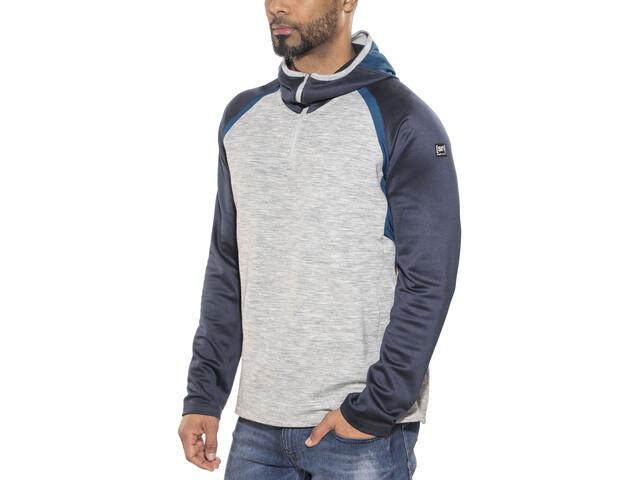 super.natural M's Motion Hooded 1/4 Zip Pullover Ash Melange/Navy Blazer